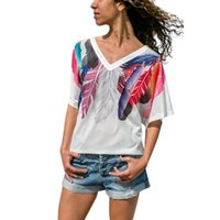Women's T-Shirt 2021 Fashion Summer Elegant Women Casual Feather Short Sleeve V Neck Daily Tee Top Wholesale Poleras Mujer#F7