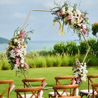 Party Decoration Drop Wedding Props Hexagonal Arch Iron Shelf Decor Backdrop Road Lead Artificial Floral Stand Gold