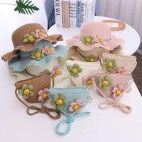 Kapaklar Şapka Bebek Kız Güneş Şapka Çocuk Çiçek Saman Yaz Sevimli Prenses Kızlar El Yapımı Plaj Kadın Balıkçı Kap Çocuk Kasketleri