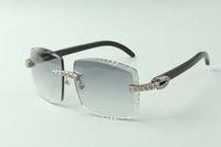 2021 diseñadores XL Diamantes Gafas de sol 3524022, Lente de corte Natural Búfalo Negro Búfalo Cuernos, Tamaño: 58-18-140mm