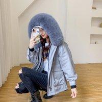 Women's Fur & Faux Real Coat Winter 2021 Korean Rex Liner Jacket Women Detachable Collar Hooded Regular Parka