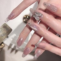 False Nails 24pcs Fake Design With Butterfly Decoration Wear Nail Finished Acrylic Oval Head Mid-length Size Products Art