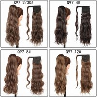 Synthetic Wigs Ponytail Clip In Hair Wrap Around Long Wavy Natural Wave Hairpieces Pony Tail Fake Piece Heat Resistant
