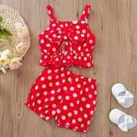 Clothing Sets Born Baby Girl Polka Dot Clothes Set 2pcs Summer Bowknot Strap Vest Tops Shorts Outfit Infant Vetement Fille