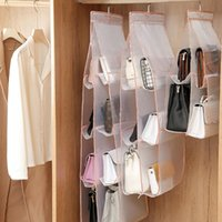 Storage Boxes & Bins Hanging Handbag Organizer Wardrobe Closet Bag Door Foldable Clear Sundry Shoe With Hanger Pouch