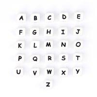 100 قطع إلكتروني diy عضاضة سلسلة مقاطع الطفل التسنين الأبجدية للطفل قلادة سيليكون الخرز