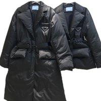 Женская куртка вниз куртки пальто зимние длинные пальто теплые моды Parkas с поясом леди хлопок верхняя одежда большой карман