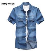 남성 캐주얼 셔츠 2021 도착 여름 카우보이 데님 셔츠, 고품질 패션 청소년 반팔 청바지 셔츠 남자, 크기 L-7XL, 8XL