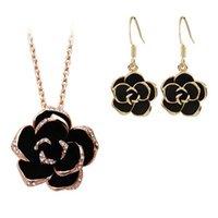 Rose Vergulde gebruik Crystal Necklaceearring edelstenen juwelenflash zwarte bloem hanger ketting 16 Q2