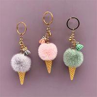 Ice cream Keychain cute bag cartoon Plush pendant cone Car ring hair ball creative gift