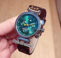Rolex Yeni Q13250 Çelik Kılıf Yeşil Arama Japonya Kuvars Chronograph Bayan İzle Kahverengi Deri Kayış Lady Bayanlar Saatler Kronometre Saf NSQ