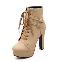 2021 Mcckle Plus Размер лодыжки ботинки женские платформы высокие каблуки женские оружины женские туфли пряжка женщины короткие ботинки женская обувь