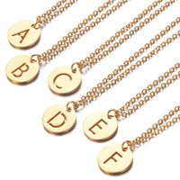 Pendant Necklaces Meetvii Stainless Steel Gold Letter Necklace For Women Long 26 Name Initial Couple Gift