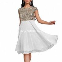 Femmes été robe d'été 2020 élégant Sexy Soirée soirée robe de soirée décontractée plus taille de mousseline de mousseline de mousseline de mousseline de mousseline de mousseline de soie robes blanche noir 5XL 65r #