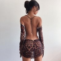 Party Night Sexy Leopard Backless See-Through Clubwear Women Stylish Flared Sleeves Lace Up Bodycon Mini Street Dresses Clothes Casual