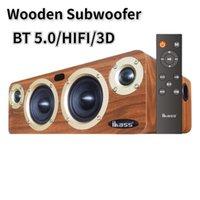 Mini alto-falantes Poderoso Sem fio Bluetooth Speaker 80w Subwoofer de madeira Boombox para Home Theater HiFi Sistema Soundbar TV Digital Audio Coaxia