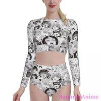 Women's Swimwear Bikinis Sexy Girl 2021 Women Long Sleeve Swimsuit High Waist Separate Anime Manga Beach Wear