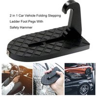 Pedals 2 In 1 Foldable Car Door Step Latch Hook Stepping Ladder Mini Foot Pegs Easy Access To Rooftop With Safety Hammer For