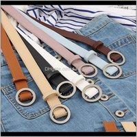 Vintage mujer decoración círculo liso hebilla simple Slim S825 U3APZ OOF57