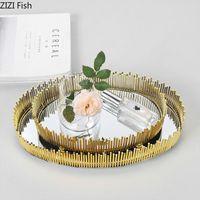 Kitchen Storage & Organization Round Tray Northern Europe Light Luxury Metal Mirror Cosmetic Jewelry Home Decoration Tools
