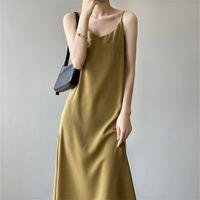 TwicEfanx Camisole senza maniche Solid Solid Alta Qualità Dress Abito femminile Estate Temperamento coreano Backless 590g 210602