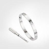 Любовный винт браслет дизайнер браслеты роскошные ювелирные изделия женские браслеты 4 алмазные классические классические титановые стальные сплава позолоченное ремесло золото / серебро / роза никогда не исчезает не аллергически