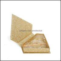 Gift Wrap Event Festive Party Supplies Home & Gardenchampagne Gold Diamond Eyelash Wholesale False Eyelashes Packaging Box Custom Logo 3D Mi