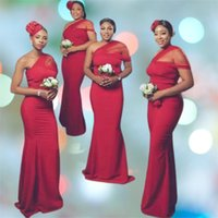 Dark Red Sleeveless Portrait Bridesmaid Dresses Mermaid Maid of Honor Dress Country Wedding Party Gowns
