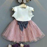 Vestito di pizzo delle ragazze Abbigliamento per bambini Bianco Top Giallo Giallo Gonna corto 2 Pz Set Moda Bambini Vestiti Boutique Abbigliamento Ins 210806
