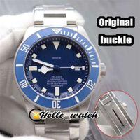 Роскошные новые 41mm 25600TB 25600 циферблат автоматические мужские часы Синяя Безрель оригинальная костюма из нержавеющей стали браслет из нержавеющей стали Gents Hello_watc Yomoi
