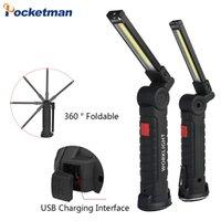 Taşınabilir 5 Modu COB Torch USB Şarj Edilebilir LED Çalışma Işık Manyetik Lanterna Asılı Çadır Lambası Dahili Pil Fenerleri Torche Torches