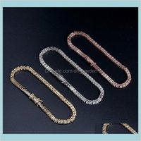 Jewelrybracelet Hip Hop 18K Gold Plated Jewelry Luxury Fashion Men Women M Bling Zircon Tennis Bracelets Drop Delivery 2021 V0Oat