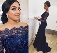 Marinho azul laço sereia vestidos de noite árabe 2021 off ombro apliques frisado longo formal vestidos de festa de baile vestido de festa