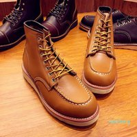 sale mens boots spring red ankle boots man wing warm outdoor work cowboy motorcycle heel 2021 3021