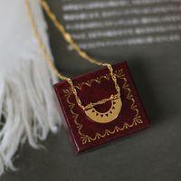 Pop art style crescent triangle fan shape chain necklace women's simple titanium steel plated 14 K gold
