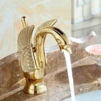 Waschbecken-Armaturen-Design-Swan-Wasserhahn Gold überzogener Wäsche-Wasch-EL-Luxus-Kupfer-Mischbatterien und kaltes Badezimmer-Waschbecken
