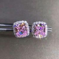Модный 2CT LAB розовый бриллиант серьги серьги настоящий 925 Стерлинговые серебряные украшения Свадебные серьги для женщин Мужчины Партия подарок 210325