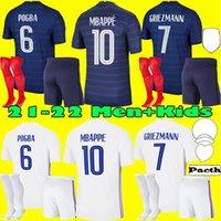 الكبار الاطفال مجموعات كاملة 2021 فرنسا mbappe grizmann pogba الفانيلة 21 22 كرة القدم جيرسي كانتي لكرة القدم قمصان thauvin مايلوت دي القدم