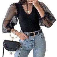 여성용 Jumpsuits rompers 패션 메쉬 긴 소매 섹시한 V-neck Romper Tops 숙녀 캐주얼 바디 콘 슬림 바디 수트 2021