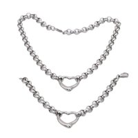 Earrings & Necklace Ladies Quality Stainless Steel Jewelry Vintage Love Silver Color Bracelet Set For Women Gift