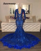 Sexy See Through Long Sleeve Mermaid Prom Dresses 2021 V-neck Royal Blue Sequined African Black Girls Evening Gowns