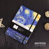 A5 Pontilhada Bala Notebook Hard Cover bloco de viagem Planejador de viagens Diário Van Gogh Noite estrelado Blossoming Almond Tree Dot Grade Revista