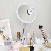 Kompakte Spiegel Makeup-Spiegel mit Leuchten und Lagerung 10x Vergrößerung Kosmetikwaschtisch 26 LED-Lichttuchscreen 90-Grad-Einstellung