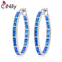 CiNily Blue Green Fire Opal Stone Hoop Earrings Silver Plated Rose Gold Color Big Round Circle Hip Hop Punk Party Jewelry Woman