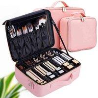 Lhlysgs PU Wasserdichte Kosmetiktasche Koffer Multi-Story Große Professionelle Make-up-Tasche Frauen Schönheit Organizer Kosmetiktasche 210322