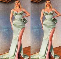 2021 Plus Size Arabic Aso Ebi Mermaid Crystals Sexy Prom Dresses Spaghetti High Split Satin Evening Formal Party Second Reception Bridesmaid Gowns Dress ZJ216