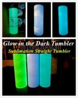 US Stock-DIY-Sublimation-Tumbler-Glühen im dunklen Tumbler 20z-gerades Tumbler mit leuchtender Farbe Leuchtbecher Magic Travel Cup SE7