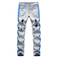 Erkek streç kot yırtık kot şerit çizgileri baskılı delikler sıkıntılı ince düz pantolon pantolon