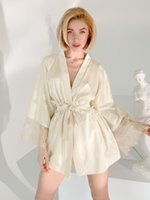 Women's Sleepwear Champagne Robes For Women Pajama Sets Sexy White Lace Patchwork Suits With Shorts Satin Pajamas Autumn Pijama Suit Set