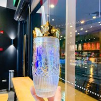 2021 Starbucks Tazza di paglia San Valentino Dazzle Color Crown Glass 430ml Rilievo Sirena Logo Caffè 18 once Ghiaccio